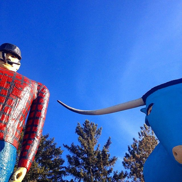 Visit Paul Bunyan and Babe the Blue Ox in Bemidji, Minnesota. Photo credit: @sbarbknecht #OnlyinMN