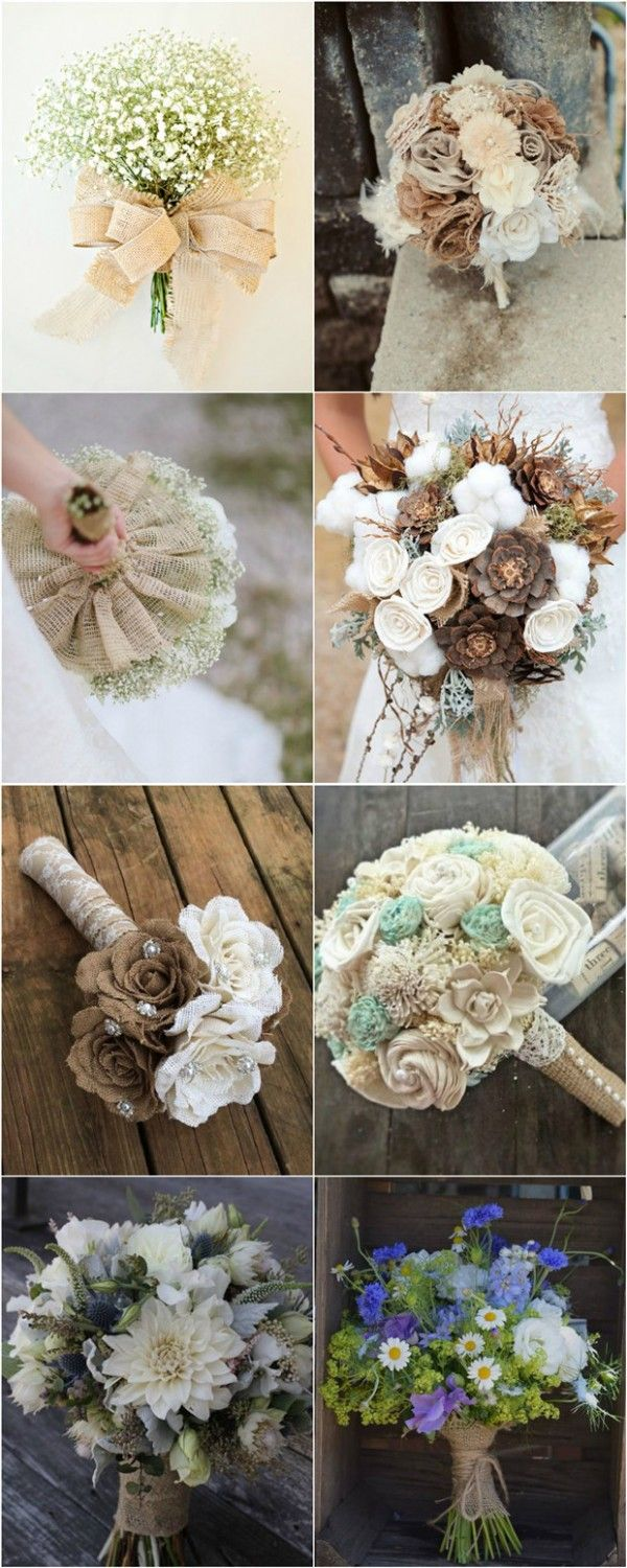 elegant natural burlap lace wedding bouquet ideas