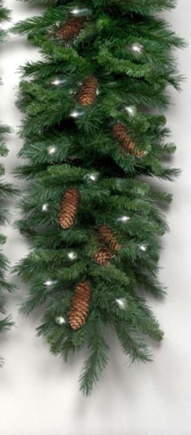 "9' x 16"" Pre-Lit Cheyenne Pine Artificial Christmas Garland - Clear Lights"