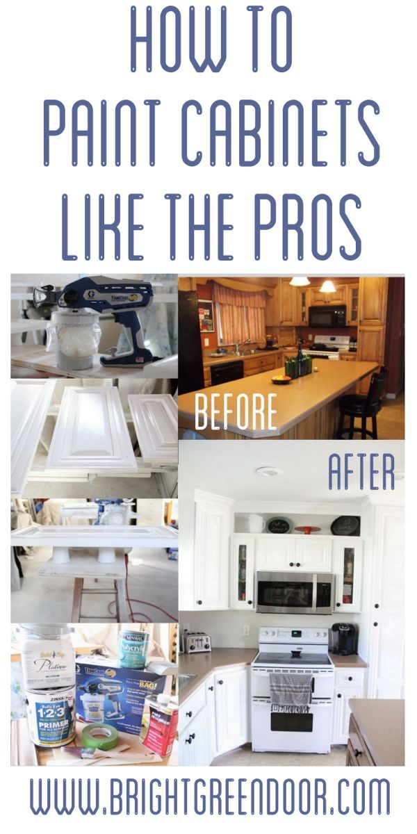 www.BrightGreenDoor.com How to Spray Paint Cabinets Like the Pros