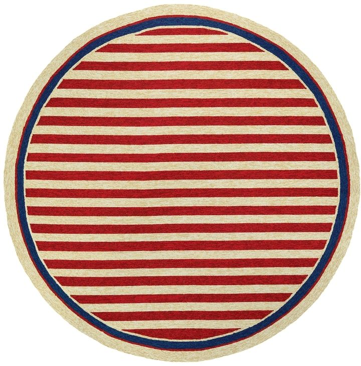 Couristan Rugs Covington Nautical Stripes Indoor/Outdoor Hand-Hooked Round Rug