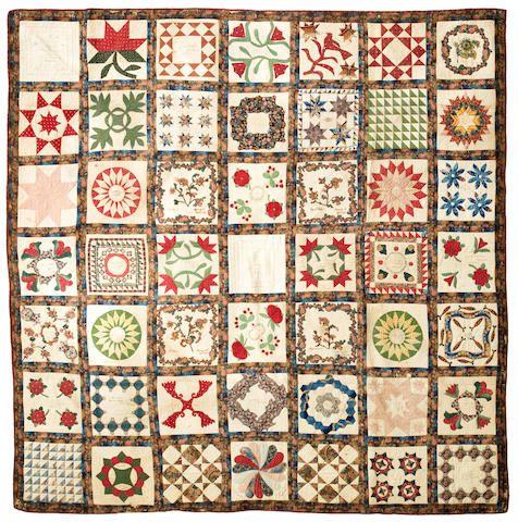 "Bonhams : A pieced and appliqued cotton presentation ""Album"" quilt Luzerne County, Pennsylvania, dated 1846"