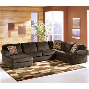 Vista - Chocolate Casual 3-Piece Sectional with Left Chaise  at Del Sol Furniture
