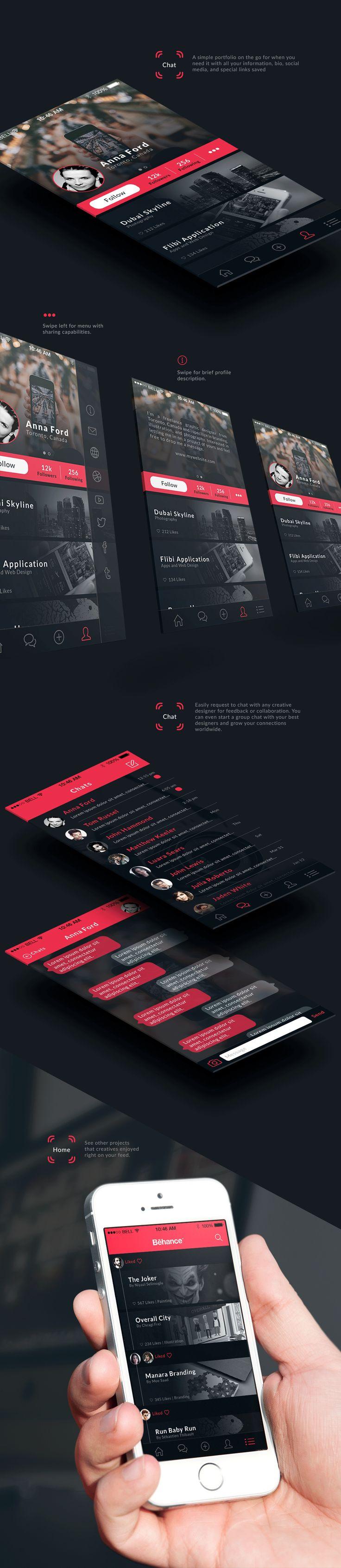 Behance Plus iPhone App on Behance. #UI #UserInterface #Design