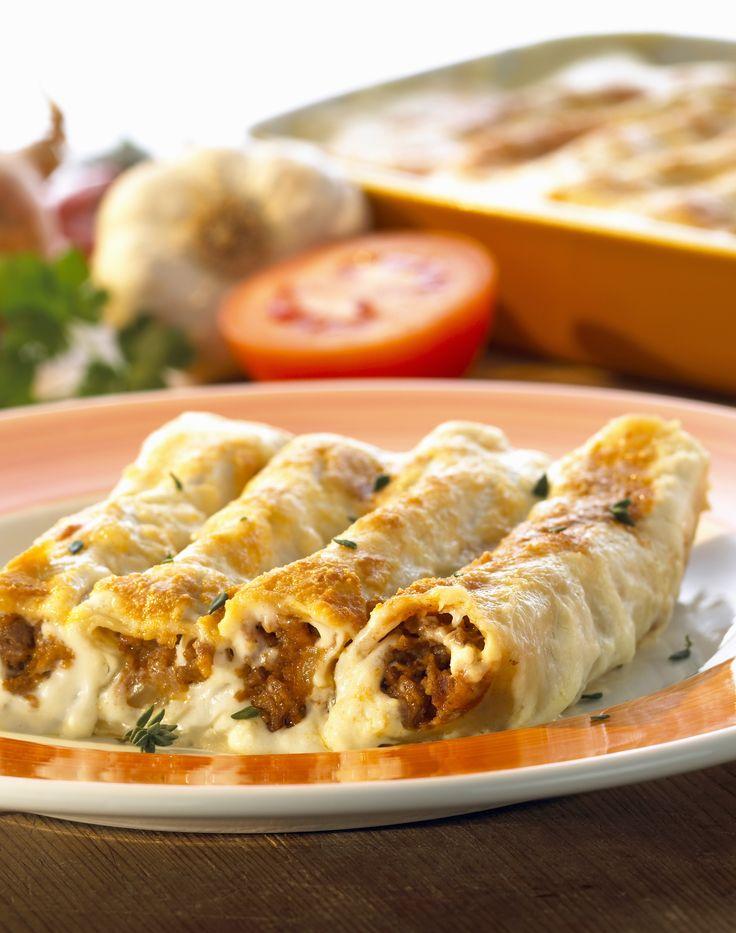 Cannelloni mit Hackfleisch gefüllt