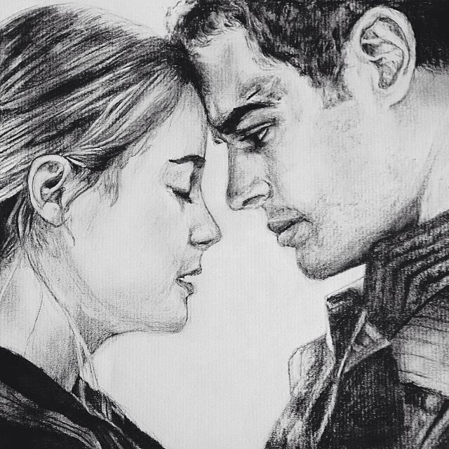 """Tris Prior and Tobias Eaton. Divergent by Veronica Roth. Drawing pencil. """"I fell in love with him. I stay with him because I choose to. Everyday I wake up, everyday we fight or lie or disappoint each other. I choose him over and over again, and he chooses me."""" -Tris Prior"""