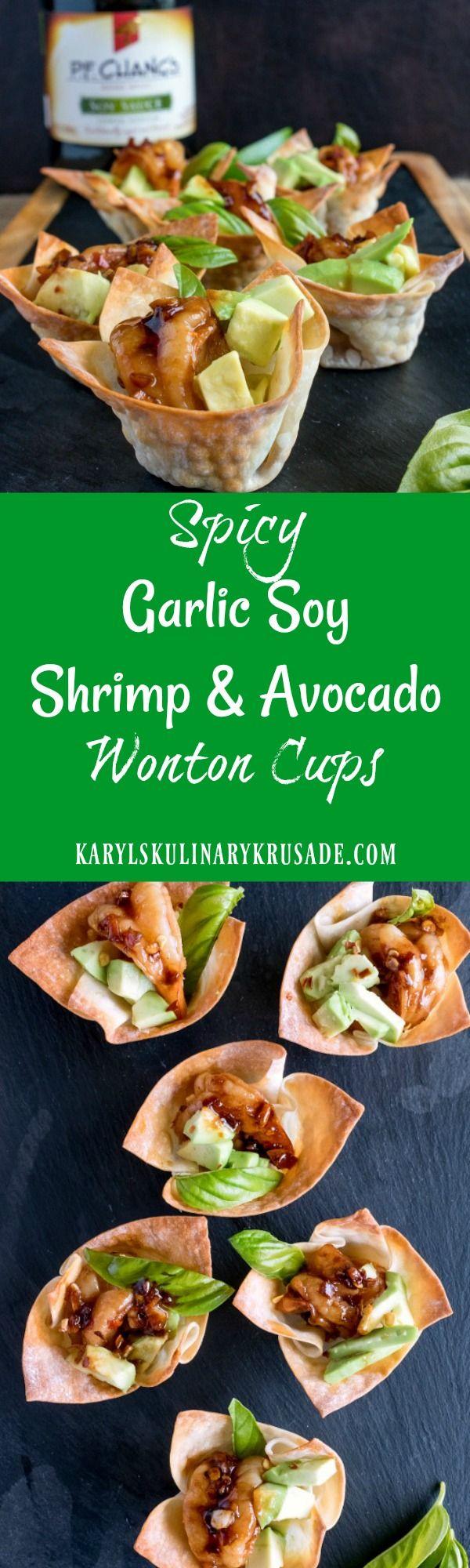 Spicy Garlic Soy Shrimp and Avocado Wonton Cups