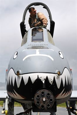 Brig. Gen. Joseph T. Guastella Jr., 455th Air Expeditionary Wing commander, performs a pre-flight check on an A-10 Thunderbolt II at Bagram Airfield, Afghanistan, April 26, 2013.  The A-10 is a specialized ground-attack aircraft which provides close air support to ground forces operating in Afghanistan. (U.S. Air Force photo/Senior Airman Chris Willis)