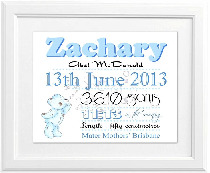 Birth Announcement Print for a little boy. This gorgeous print is $25 unframed and $45 framed, it is available for order from www.brashdesigns.com.au