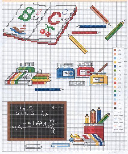 Schema punto croce Scuola-oggetti