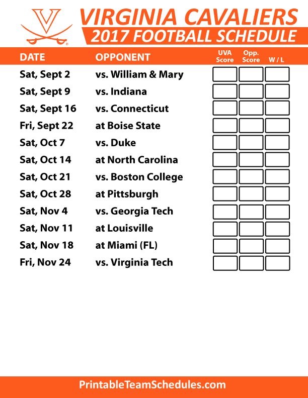 2017 Virginia Cavaliers Football Schedule