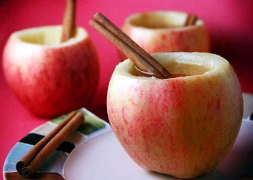 "Apple cider in an apple ""cup"" with a cinnamon ""straw"". What a"
