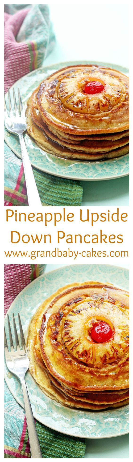 Delicious Pineapple Upside Down Pancakes! Enjoy the classic cake for BREAKFAST…