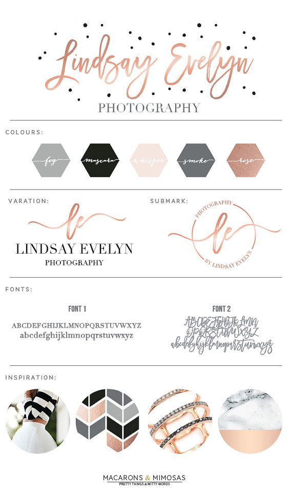 Design Studio | Branding | Business Branding | Brand Board | Branding Kit Logo Design | Rose Gold Logo | Blush Pink Teal Color Scheme | Polka Dot Spots Calligraphy Watercolor | Premade Submark Watermark Stamp | Blogger Photography
