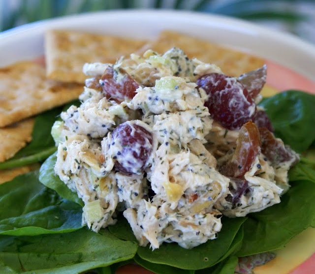 Chicken Salad Made With Poppy Seeds, Grapes, Celery, And