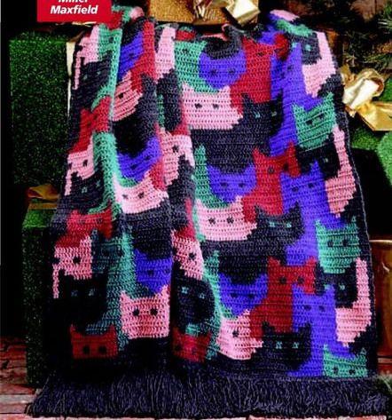 AS RECEITAS DE CROCHÊ: Manta de gatinhos-como fazer desenhos no croche