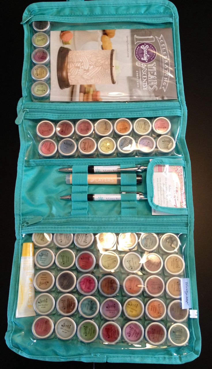 Thirty-One's Timeless Beauty Bag used as a basket / catalog party for Scentsy. Folds up flat and can hold Scentsy testers, catalogs, business cards, pens, hand sanitizer, travel tins, scent circles, etc! Get it today