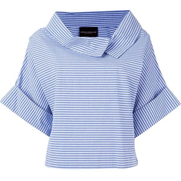 Erika Cavallini  'Achir' pinstriped collar fold wide sleeve blouse ($400) ❤ liked on Polyvore featuring tops, blouses, blue, sleeve top, blue blouse, blue top, cotton blouses and sleeve blouse