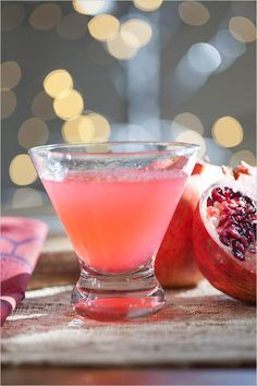 The Granada a Pomegranate Martini, real men drink pink. http://www.weddingchicks.com/2013/12/17/holiday-cocktail-recipes/