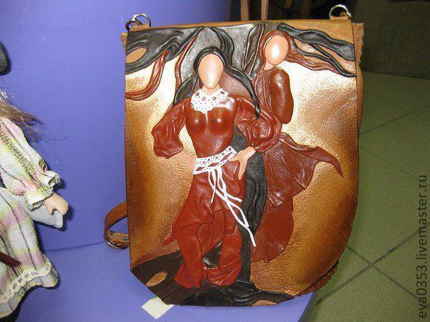 Купить Сумка из кожи с оформлением - коричневый, сумка, кожа, авторская…