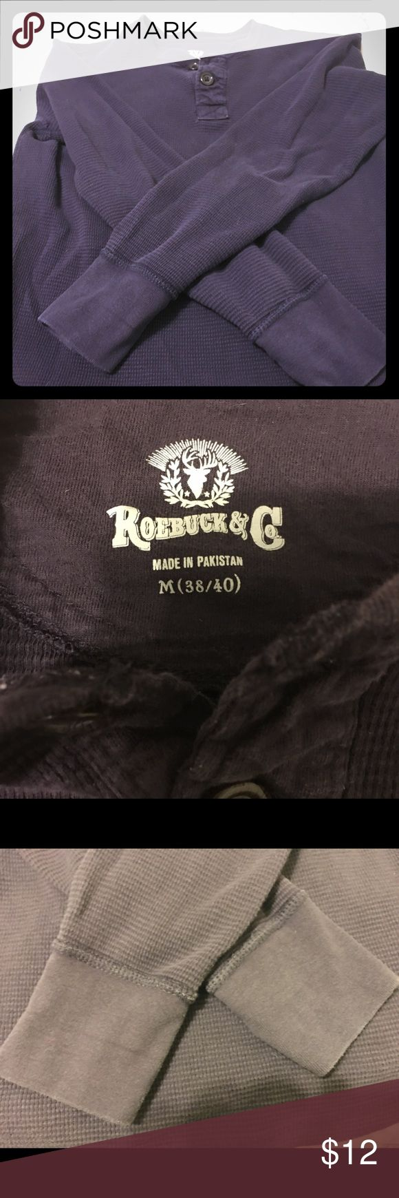 Unisex deep purple henley with 2 buttons Unisex deep purple henley with 2 buttons! Barely worn, no wear and tear. Sears Roebuck Tops Button Down Shirts