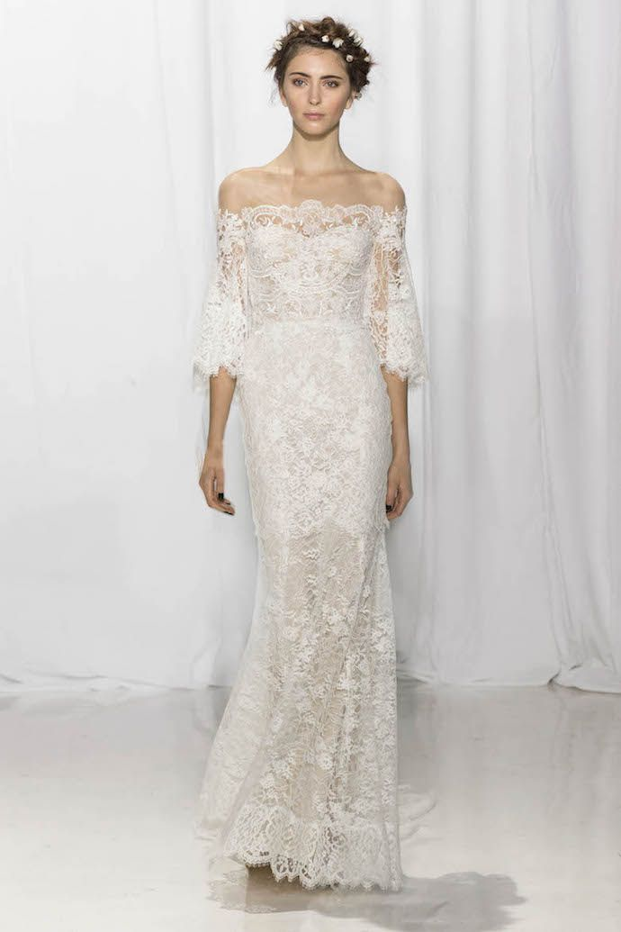 Off Shoulder Lace Wedding Dress from Reem Acra