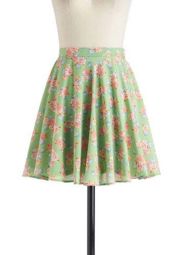 Pea Green and Pink Floral Skirt (Neighborly Love Skirt, #ModCloth)