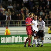 8.8.2001 Olympic Stadium, Helsinki, Finland. FC Haka v Liverpool, UEFA Champions League Qualifying Round, First Leg Match. Sami Hyypi? (LFC) & Jokke Kangaskorpi (Haka).©JUHA TAMMINEN