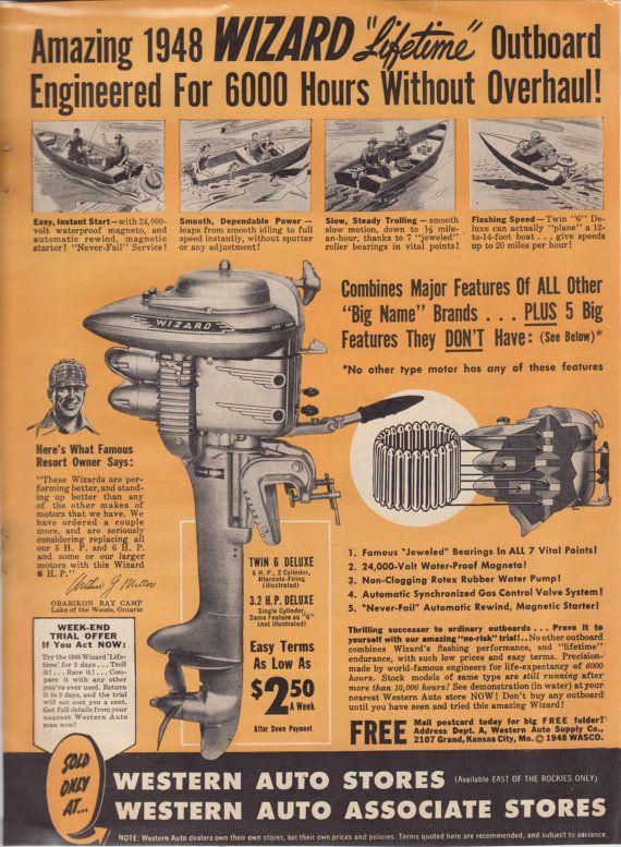 Vintage Ad  Wizard Outboard Motors 1948 by 9MilesOfWonder on Etsy