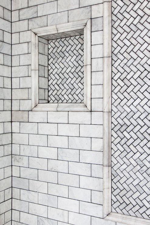 Lonny Magazine - bathrooms - shower, shower surround, shower ideas, walk in shower, white marble subway tiles, shower niche, tiled shower ni...