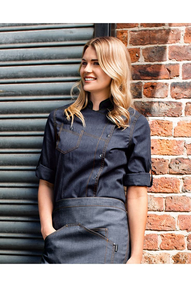 Denim chef jackets. Yes, I'm definitely liking the black and grey look for both kitchen and wait staff.