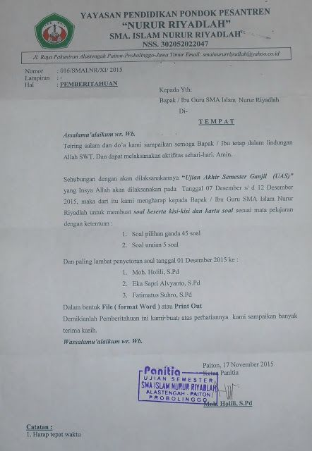 SMA  ISLAM NURUR RIYADLAH: Surat Pemberitahuan UAS