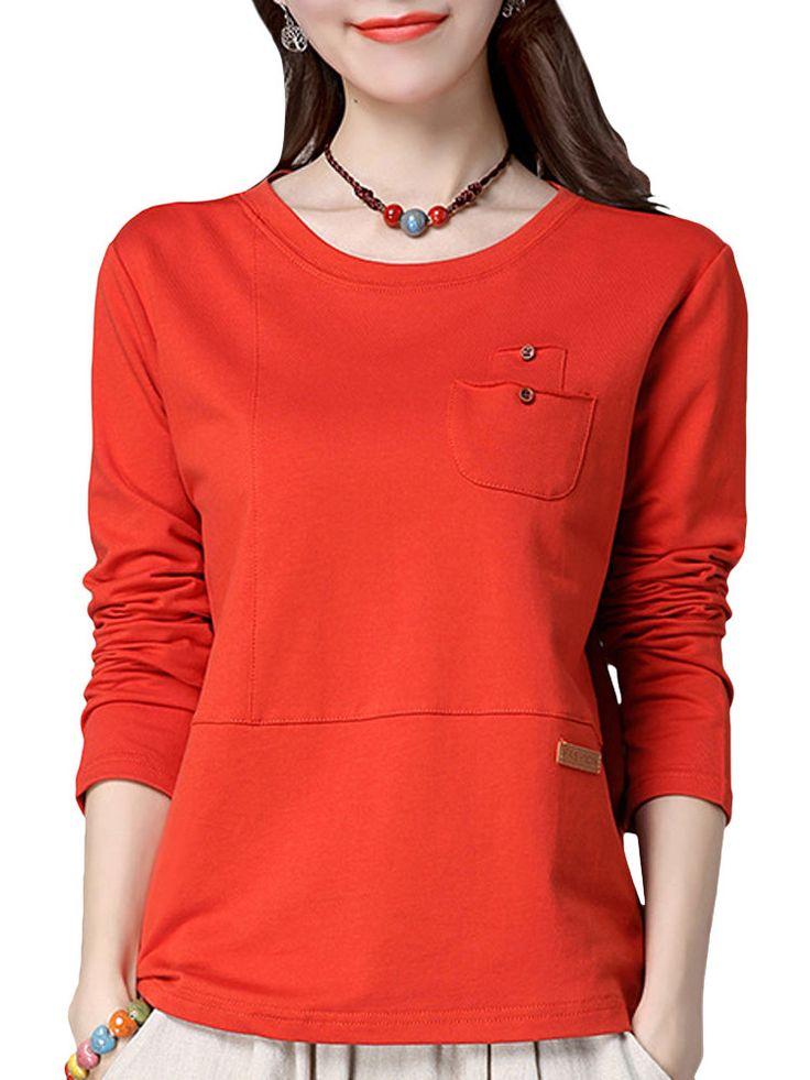 Brief Pockets Design Long Sleeve Basic Shirt For Women