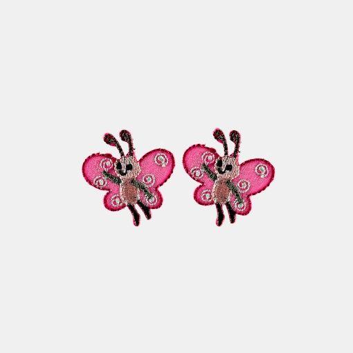 Symerke 30x30mm sommerfugl rosa 2 stk