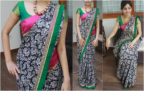 M | Rs 3750 Baroque printed black and white saree. Borders -… | Flickr