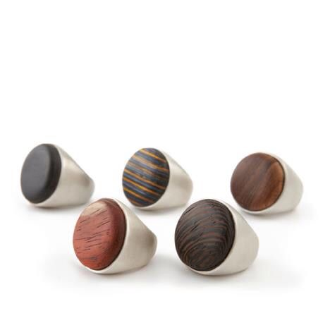 Rings. Sterling silver and different exotic woods. Made by Jenny Greco