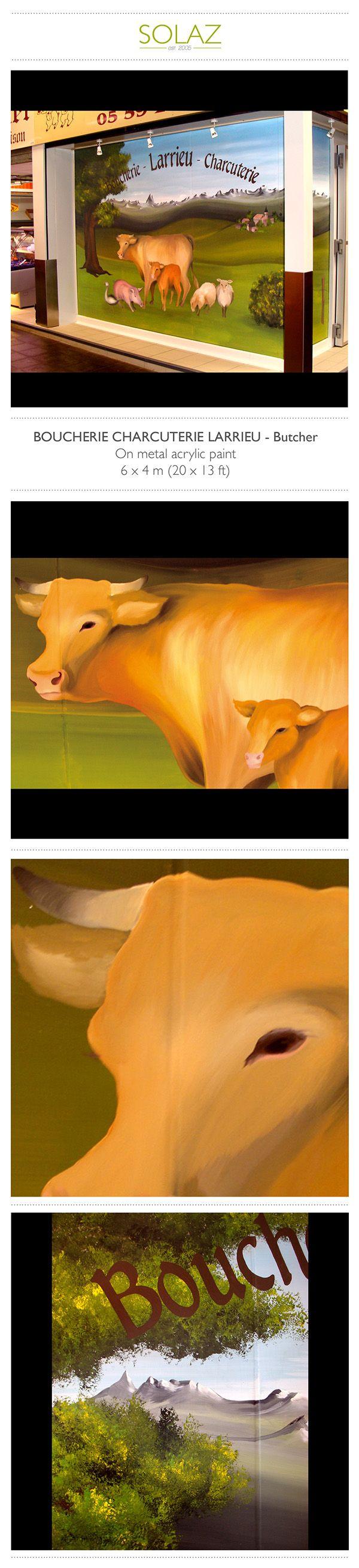 BOUCHERIE CHARCUTERIE LARRIEU - Butcher by Helene Bataille, via Behance -  www.designbysolaz.com #drawing #illustration #painting #paint #mural #wallpainting #sheet #cow #duck #sudouest #france #landscape #mountains #artisanal #shop #handwork