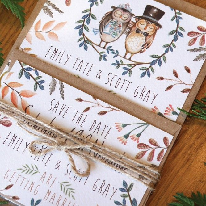 Watercolour little owls wedding stationery set created by Top Table Design. Perfect for a Fall/Autumn wedding.