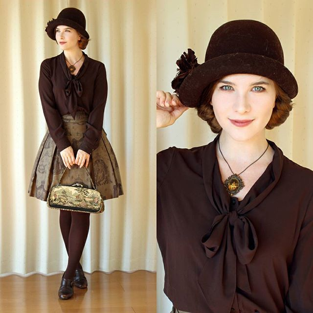 #brown and #kaki for shopping Skirt: #janemarple Blouse: #calvinklein Tights: #hue Shoes: #clarks Hat: #handmade (not by me) + add. flower Bag: #vintage Necklace: Handmade (not by me) #fannyrosie #fashion #jfashion #otomekei #vintagestyle #cloche #ootd