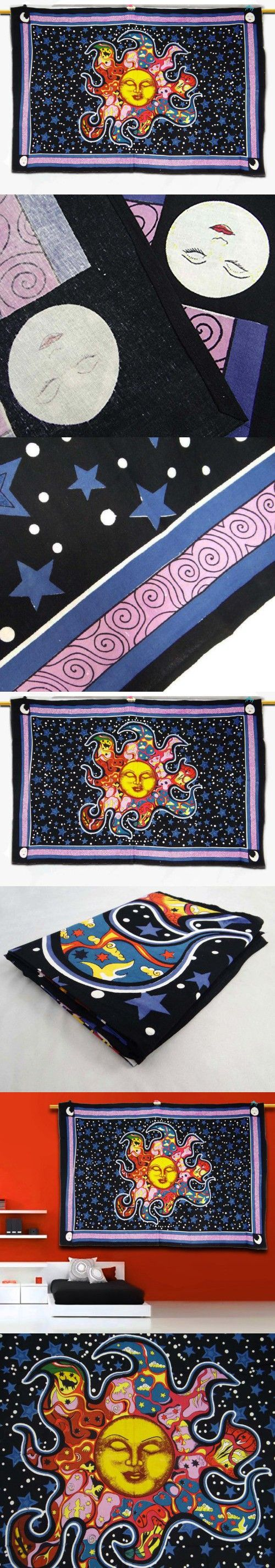"Hippie Cotton Tapestry Sun Printed Wall Home Décor Art Large Bed Cover Gift Art 83"" X 54"""
