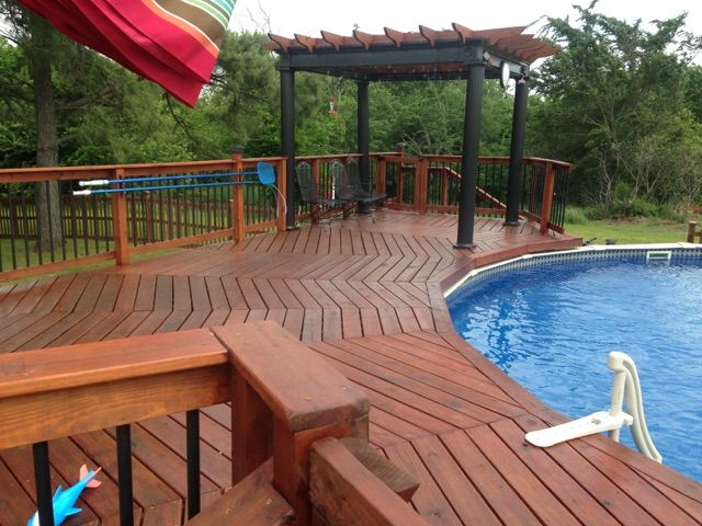 Round pool deck | Pool Deck Decorating Ideas | Pool Pergola | Above ground swimming pool designs