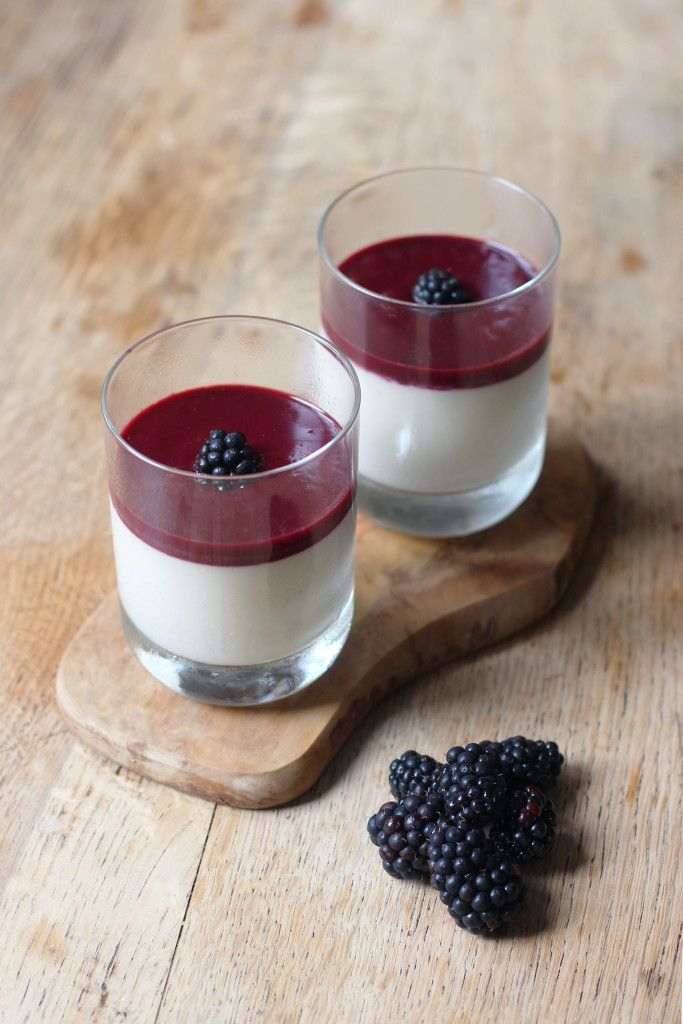 Delicious and Refreshing Lemon & Blackberry Posset. Dairy free, Vegan and sweetened with maple syrup!