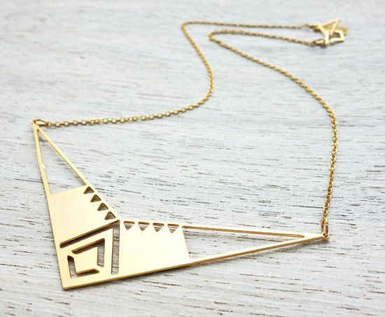 Aztec Necklace, Mexican inspired geometric gold silver plated pendant jewelry