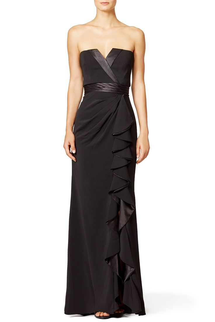 Rent Tuxedo Ruffle Gown by Badgley Mischka for $100 only at Rent the Runway.