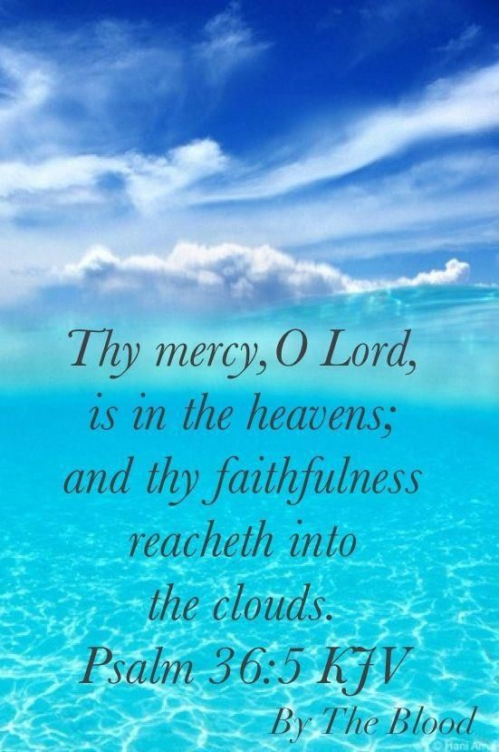Psalms 36:5: Thy mercy, O LORD, is in the heavens; and thy faithfulness reacheth unto the clouds.