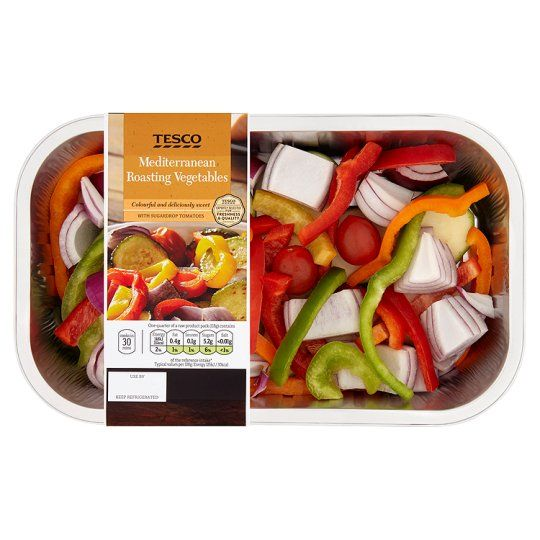 Tesco Mediterranean Roasting Vegetables 475G.   Don't put the used tray in the bin.  Pour in a little boiling water.  Leave it to soak and it makes the most amazing vegetable stock for soups, stews, risottos.  Freeze it.  Then the tray is clean and can be recycled.