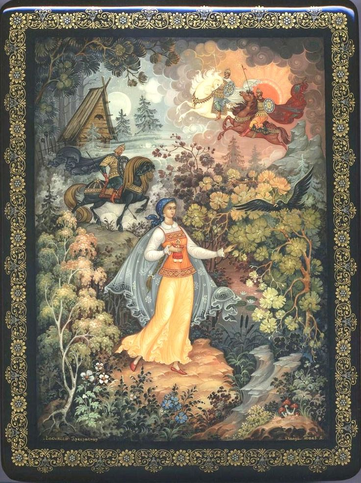 "Russian lacquer miniature from the village of Kholuy. ""Vasilisa the Beautiful"" – illustration to the Russian fairy tale."