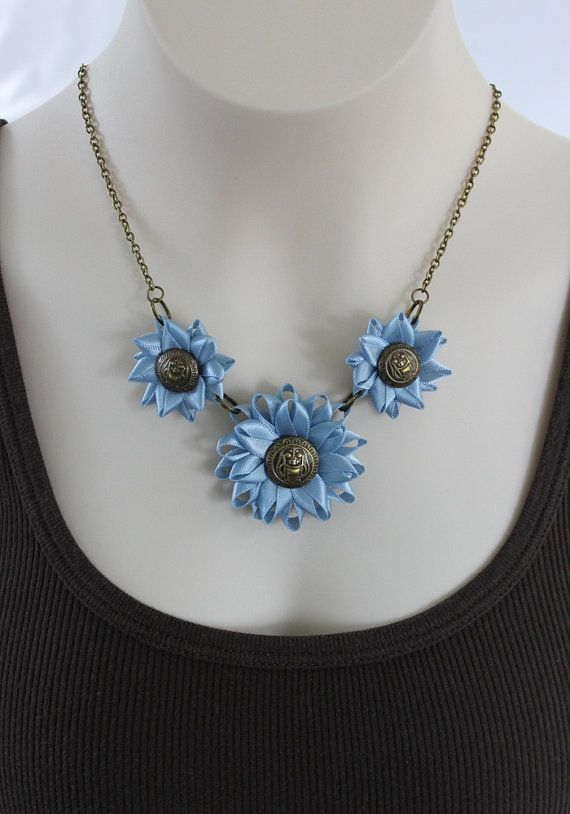 Blue Necklace Pretty Blue Necklace Blue and by PetalPerceptions
