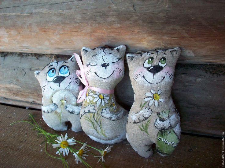 Купить Льняные котики...Для любимых...Роспись. - котики, текстильная кукла, текстильная игрушка кот