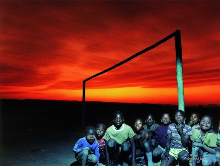 Young Kruisfontein soccer players, near Harrismith, 1980 by Obie Oberholzer   (obieoberholzer.net)